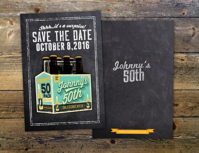 ANY AGE save the date Cheers and Beers beer 21st 30th Turquoise