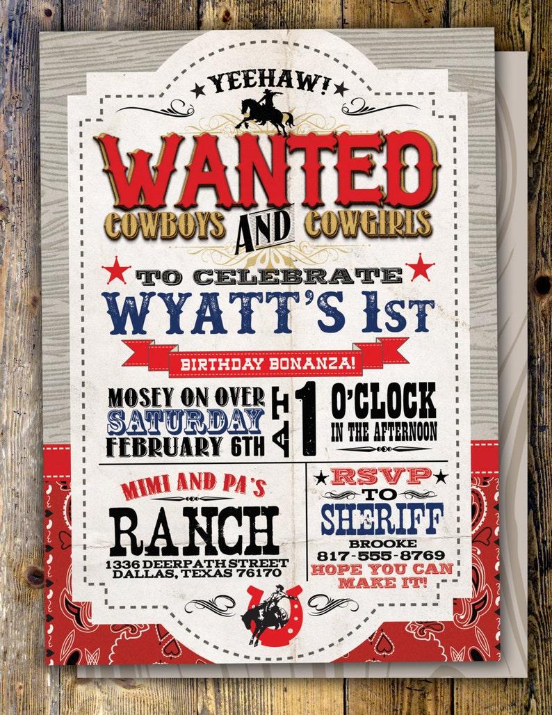 Vintage Cowboy Invitation boy birthday cowgirl rodeo image 0