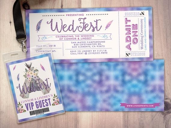 wedding invitation ticket invitation pow wow boho tie dye