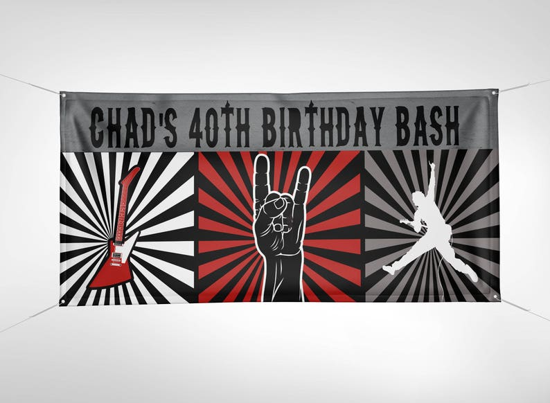 Banner Digital file only Rock Star birthday party banner SAMPLE PHOTO 1