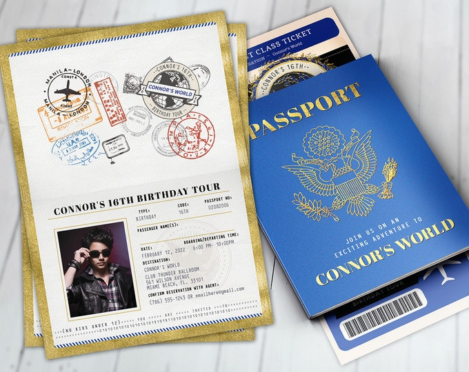Passport, ticket invitation, travel birthday party invitation, retirement party, going away party, travel, Bar Mitzvah, Digital files only