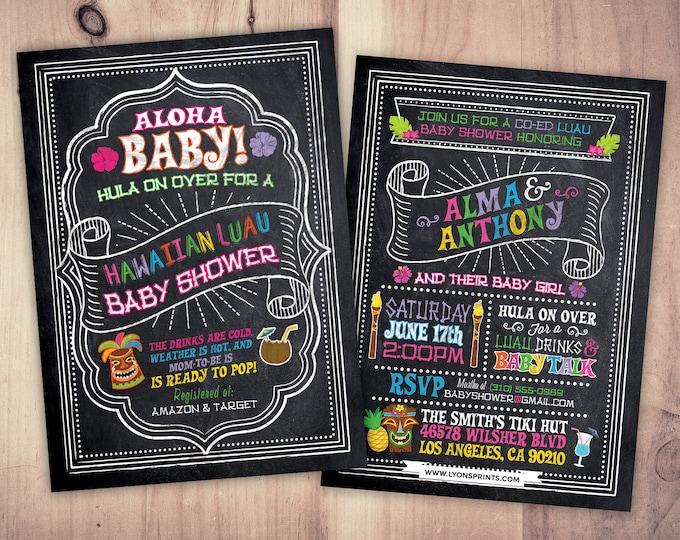 Aloha Baby Shower Invitation, Luau Baby Shower Invitation, Pineapple Invitation, Luau Invitation, Hawaiian Baby Shower Invitation, Tiki