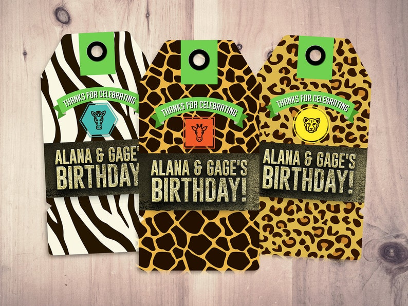 Party favor tag Zoo Safari tag baby shower birthday favor Green