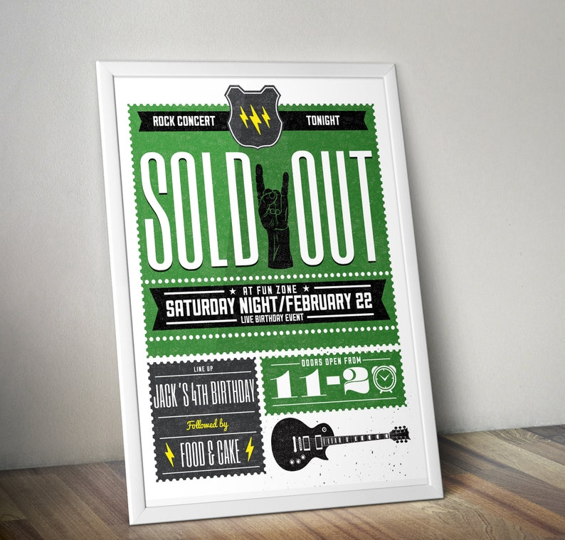 Rock Star theme poster rockstar baby shower rock star Green