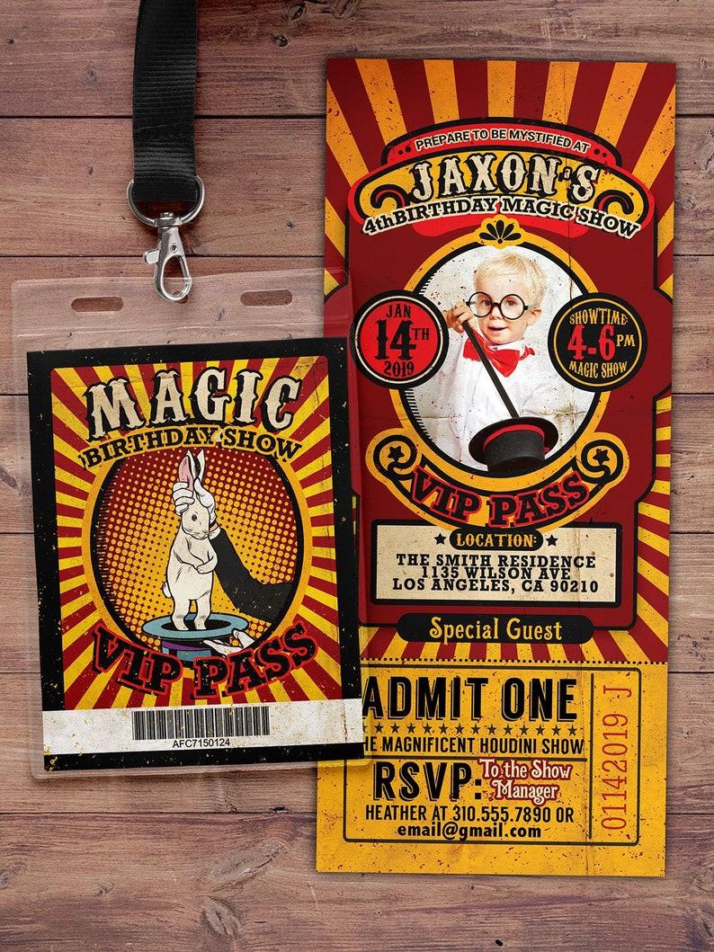 Magic Party Invitation Magic Birthday Invitation Magician SAMPLE PHOTO 1