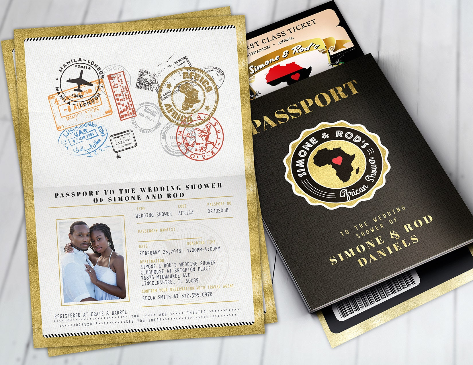 passport and ticket bridal shower invitation birthday african africa passport african birthday wedding african digital files only
