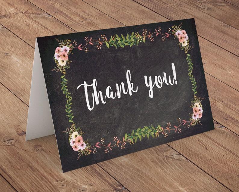 thank you Floral rustic BOHO BabyQ chalkboard couples image 0