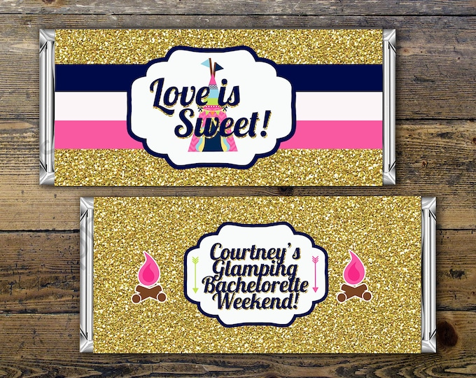 Glamping, bachelorette party,Birthday Candy Bar Wrapper Covers, Birthday Chocolate Bar Birthday Candy Wrappers - Boho, teepee