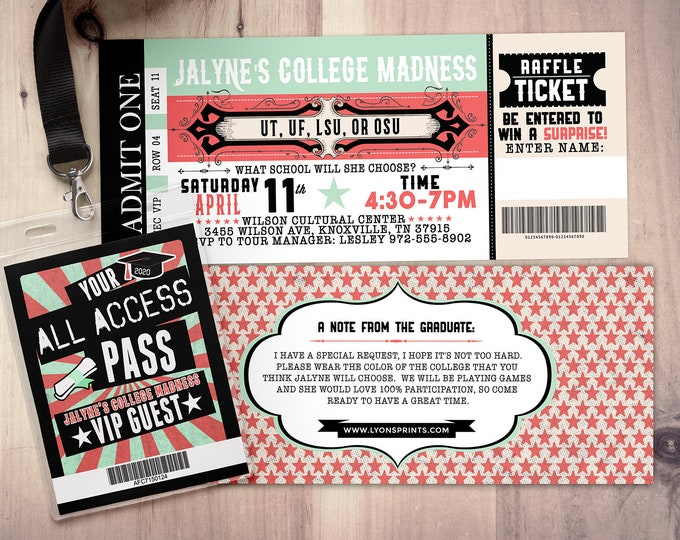 College reveal party, Concert ticket, graduation party invitation, rockstar birthday invitation, VIP pass, ticket invitation, rock star