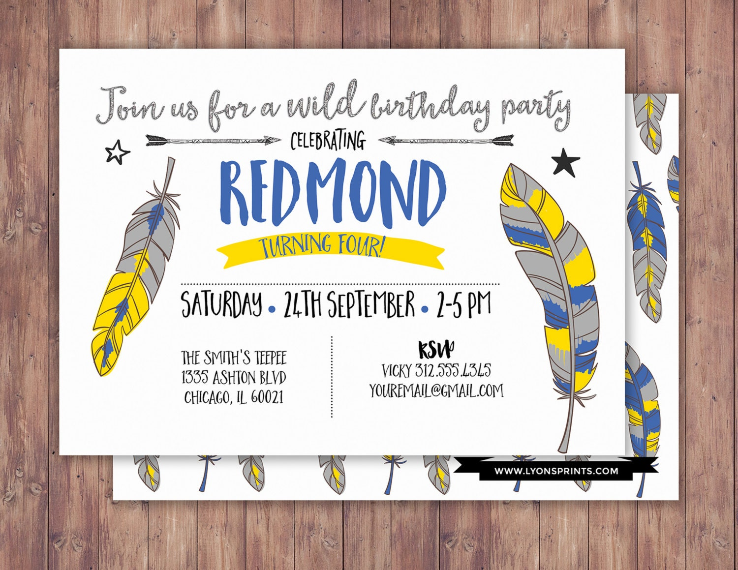 Tribal, birthday Invitation, BOHO birthday Invite, feathers ...