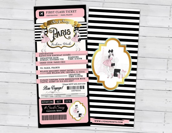 Passport And Ticket Sweet 16 Quinceanera Invitation Girl