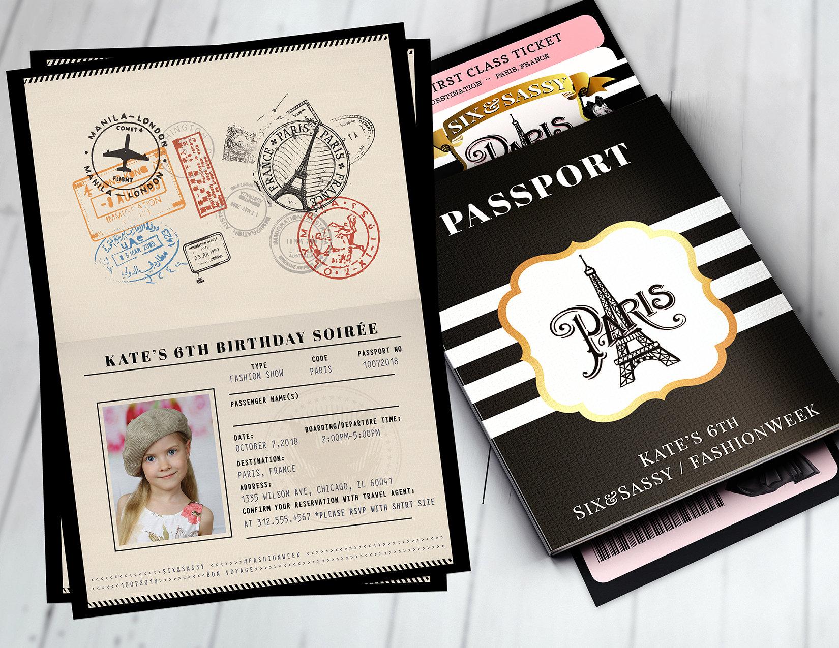 passport and ticket sweet 16 quinceanera invitation girl birthday