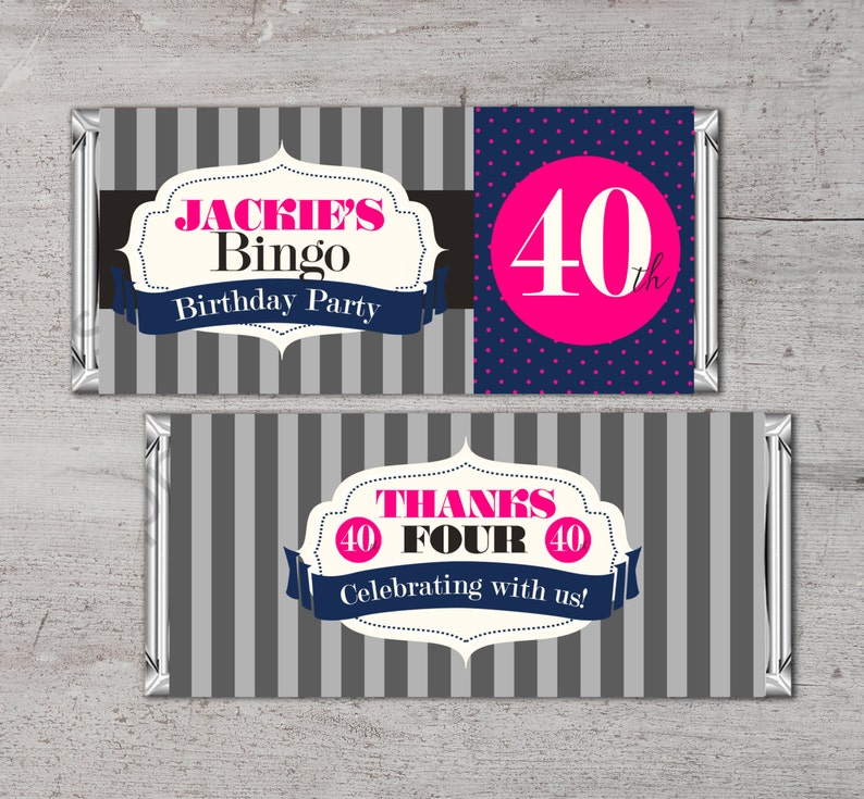 Birthday Candy Bar Wrapper Printable Digital File Fits 1.75 image 0