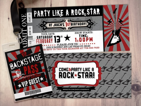Rock star concert ticket birthday party invitation music etsy image 0 filmwisefo