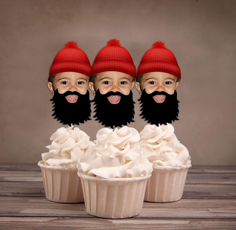 Photo Cupcake Toppers Lumberjack birthday Buffalo Plaid image 0