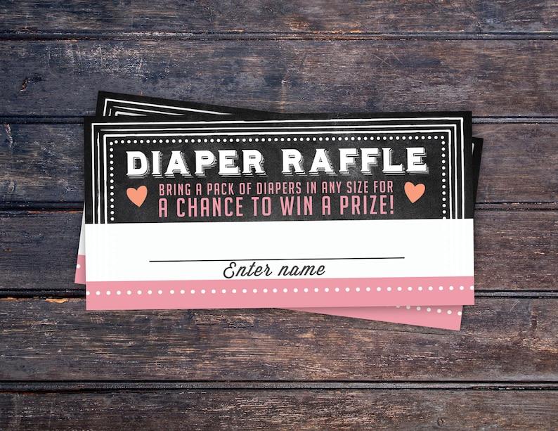Baby Shower Diaper Raffle Ticket Inserts Chalkboard image 0