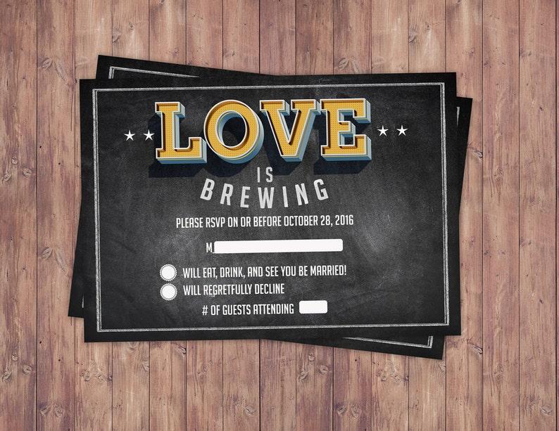 RSVP card Coed bridal shower Beer bridal shower couples image 0
