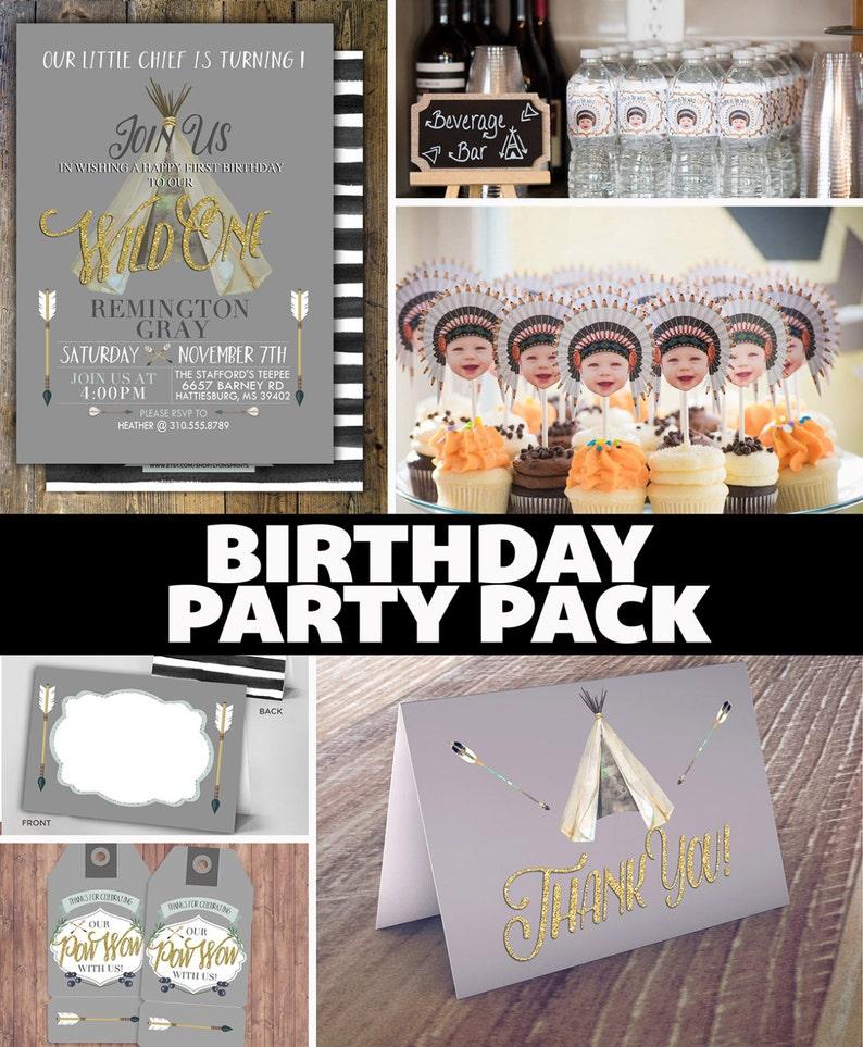 Party Pack WILD ONE birthday Invitation tribal birthday image 0