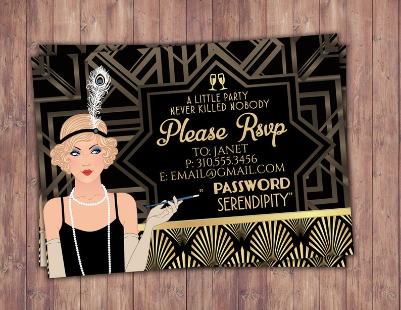 Great Gatsby birthday RSVP card Roaring 20's Hollywood image 0