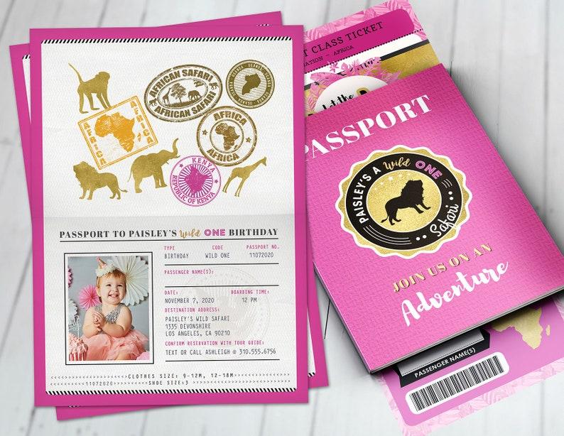 Passport invitation Jungle Invitation Jungle invite Safari FULL SET