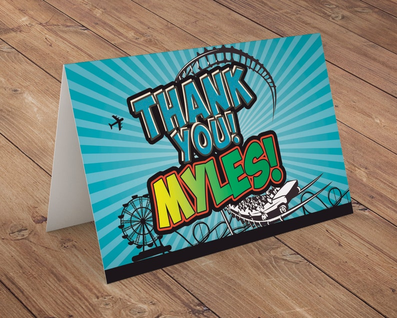 Thank you card Amusement Park party super hero birthday image 0