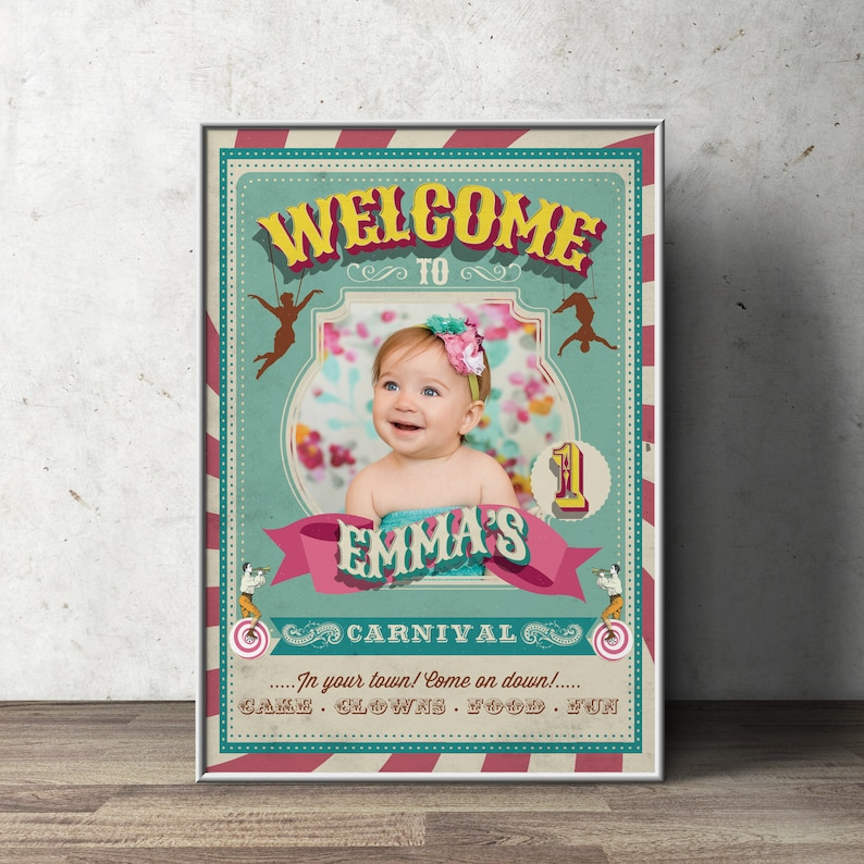 Carnival Party  Circus Party  Welcome Poster Sign with Photo SAMPLE PHOTO 1