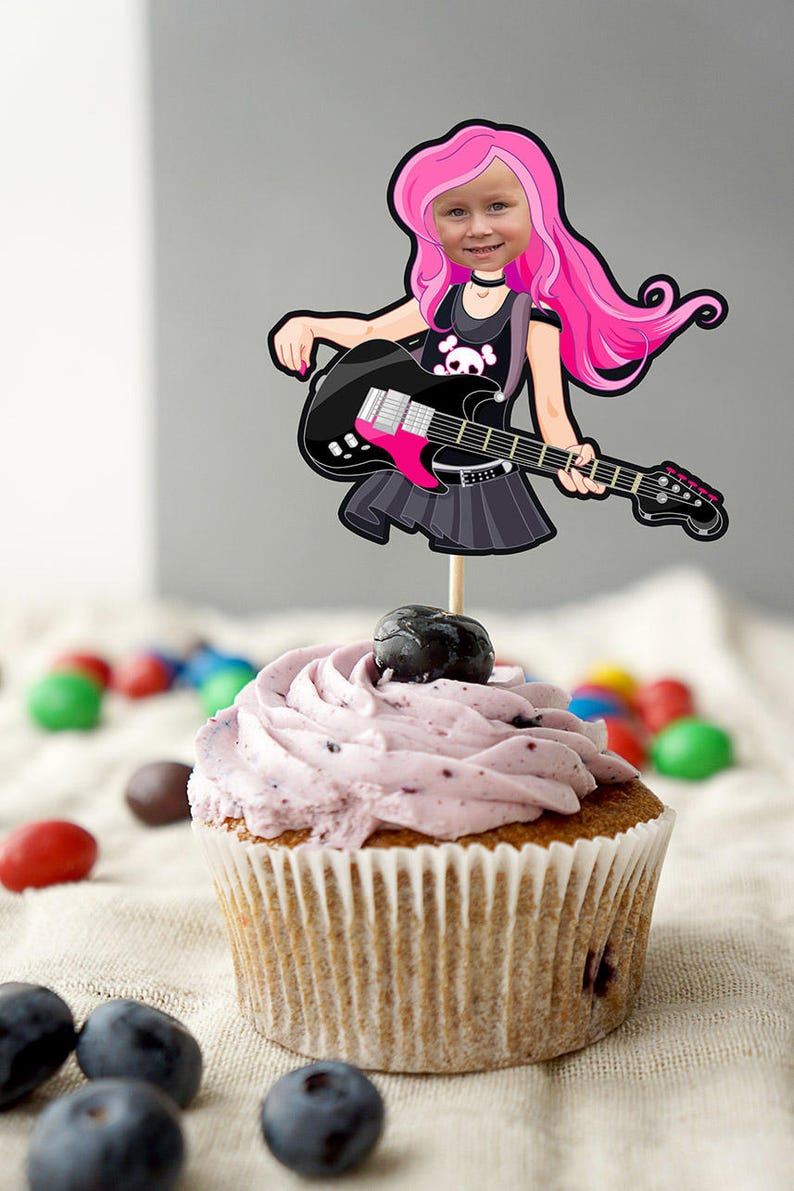 party supplies rockstar party,Pop star party decor, party decorations Cupcake toppers ROCKSTAR birthday party