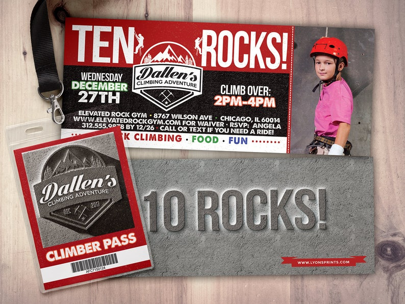 Any Age Rock Climbing Birthday Invite 10 rocks ten rocks PHOTO