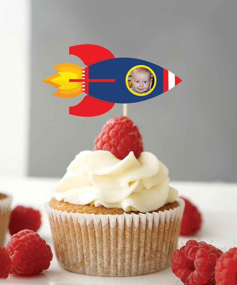 Rocket ship cupcake topper Outer Space birthday Solar image 0
