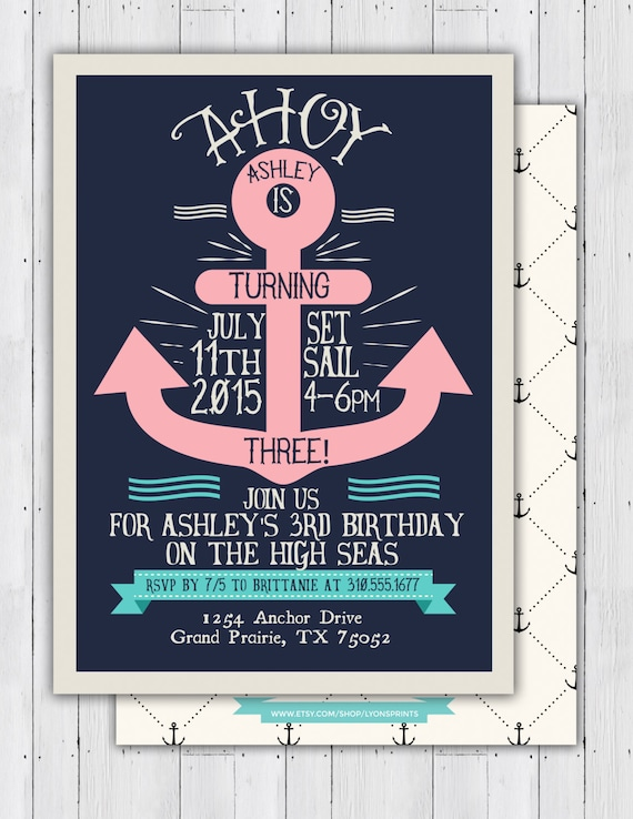Nautical Birthday Invitation Ahoy Anchor Sailboat