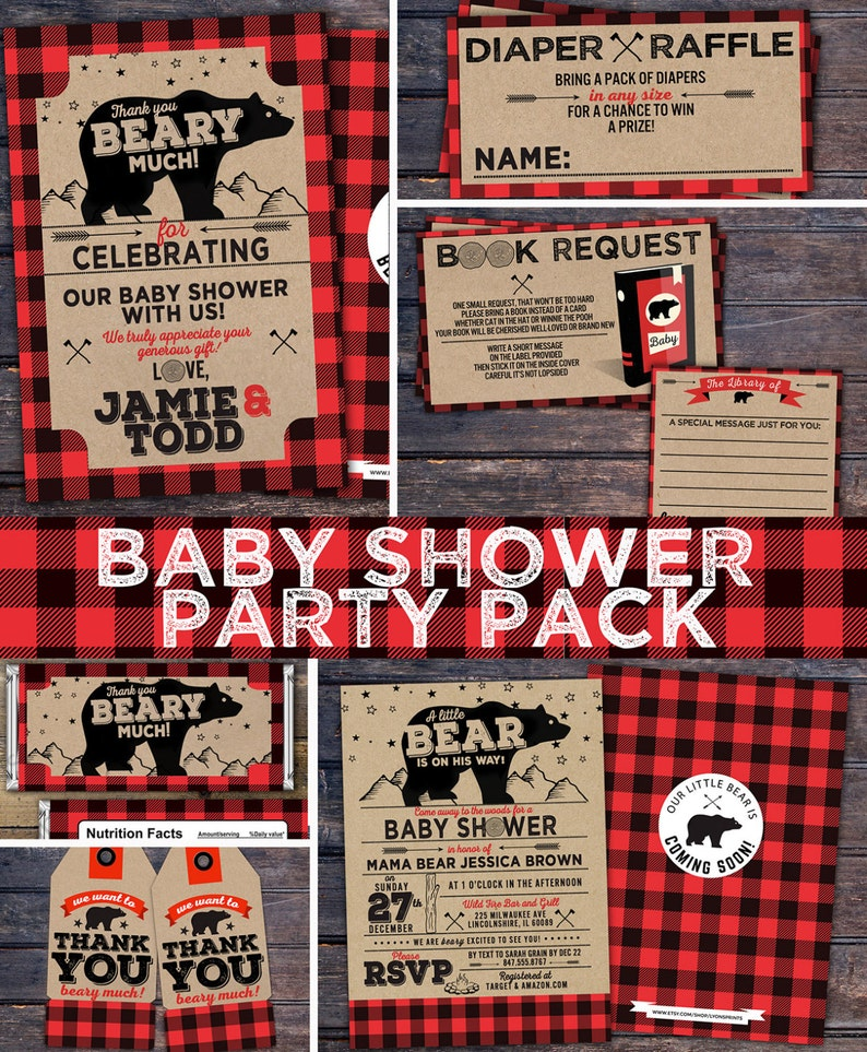 Lumberjack baby shower Invitation digital files only Buffalo Red