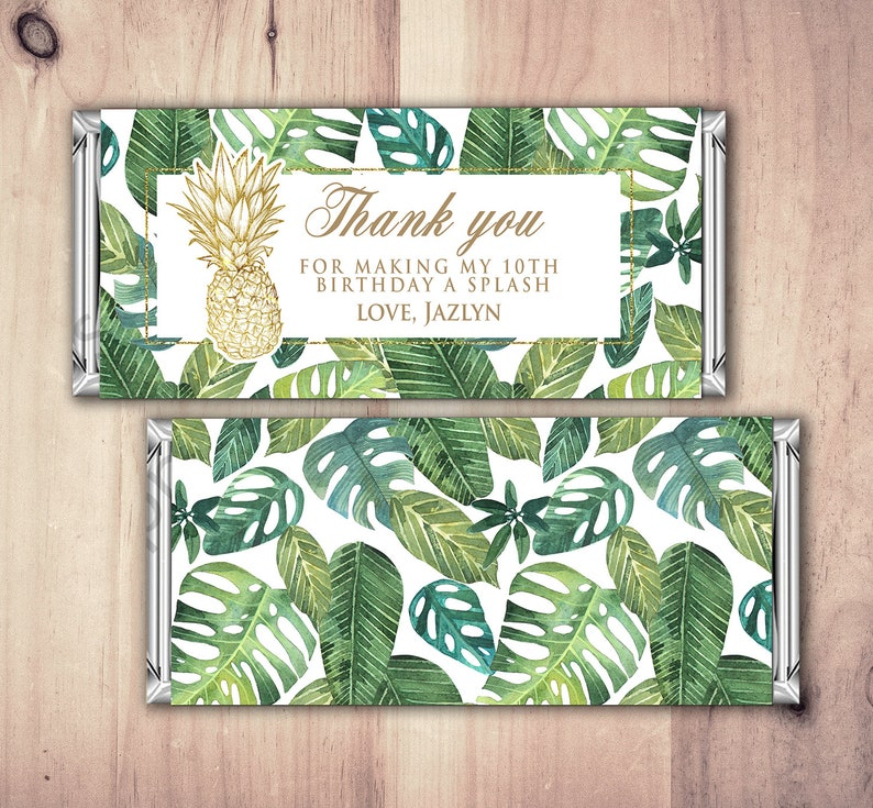 Birthday Candy Bar Wrappers  Gold jungle tropical pool image 0