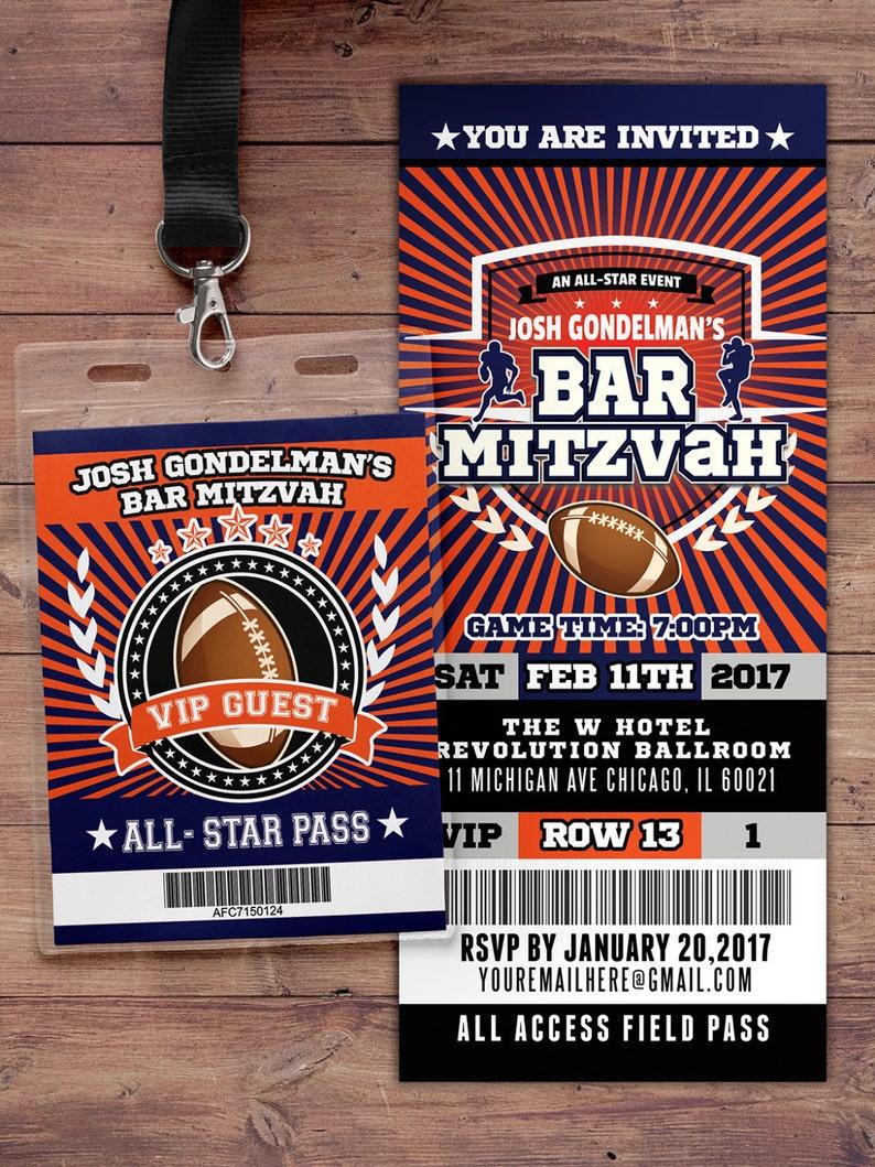 Football ticket Invitation // All Star Birthday //  VIP pass image 0