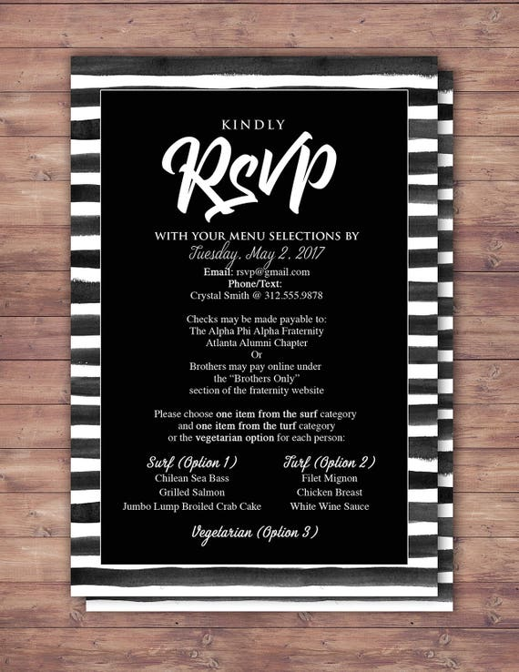 rsvp card elegant black and white party prom anniversary party