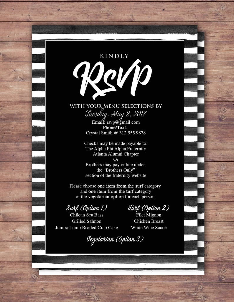 RSVP card elegant Black and white party Prom Anniversary image 0