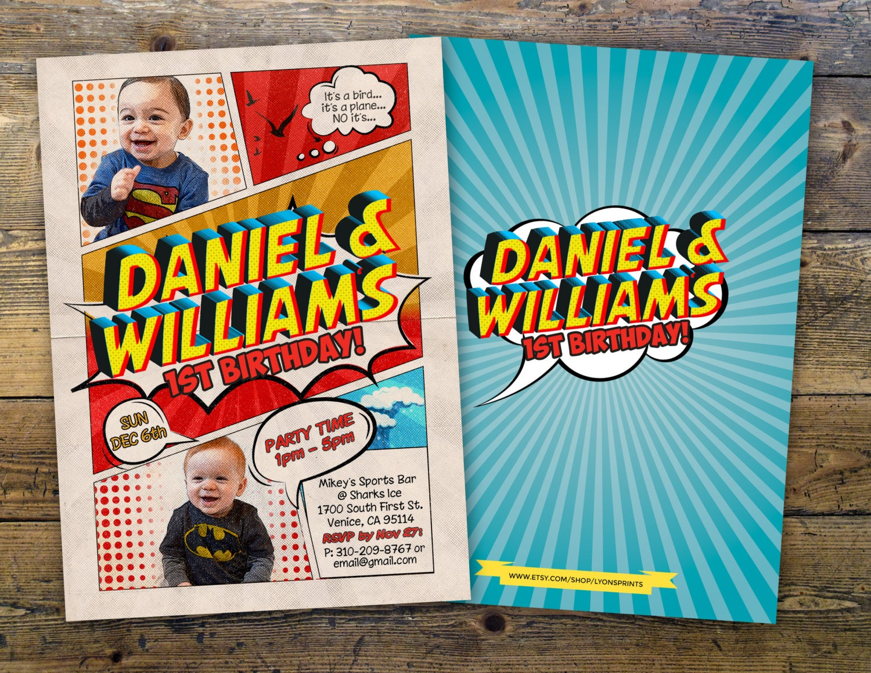 Twins Superhero Invitation Birthday Invite