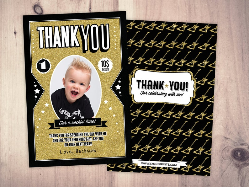 Thank You Card  Greeting Card  All occasion card  rockstar Black/Gold