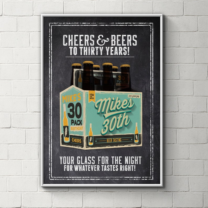 Digital file only Cheers and Beers poster beer 21st 30th image 0