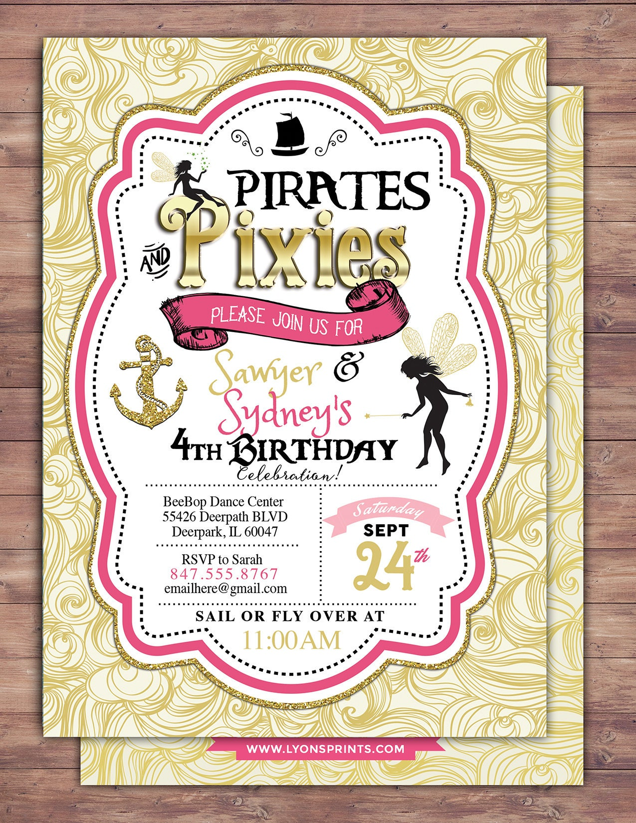 Pirates and Pixie, Party Invitations, Pirate, Princess