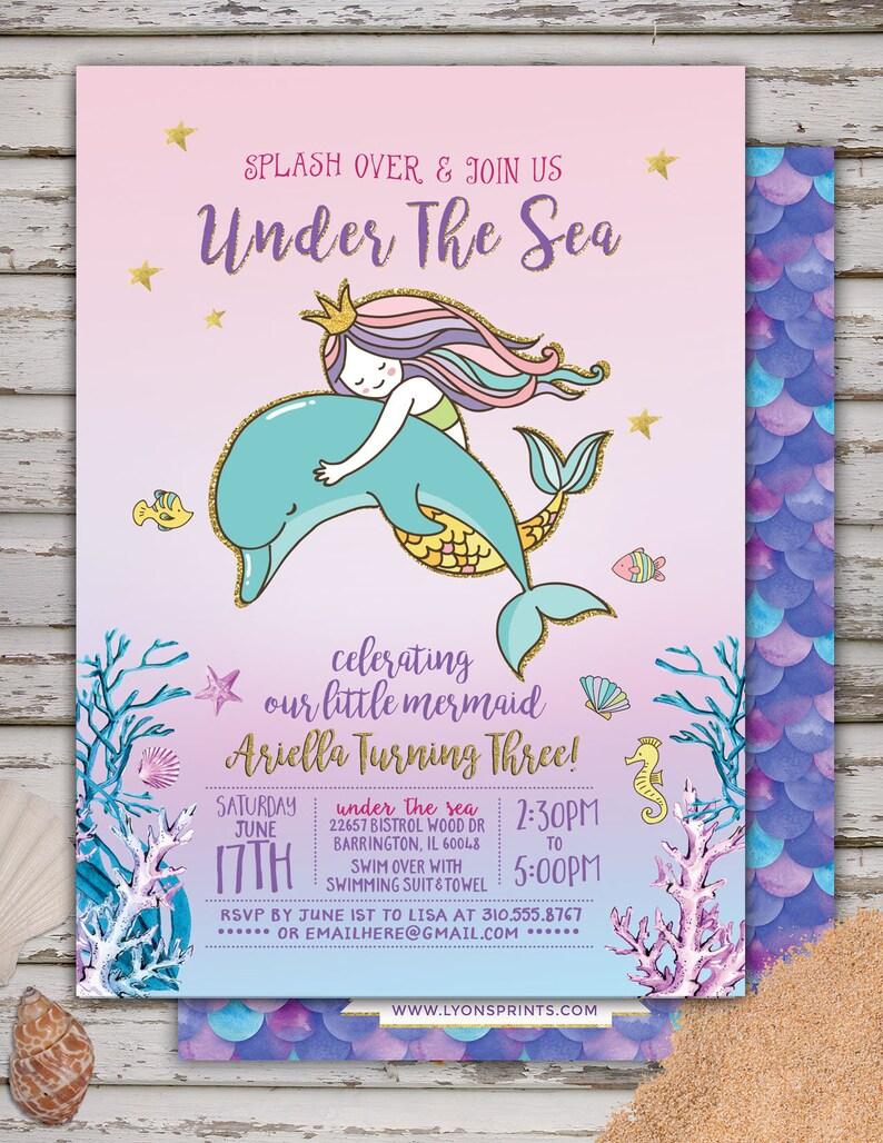 Mermaid Invitation Mermaid Birthday Invitation Under The Sea image 0