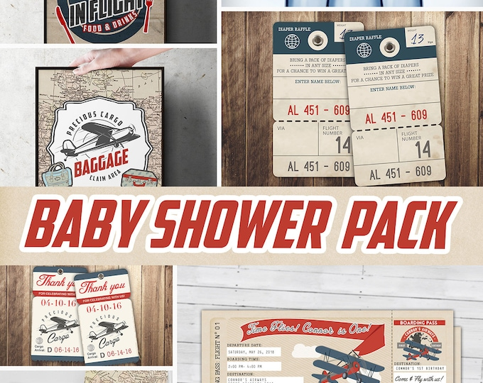 Precious Cargo party pack,  Baby Shower Invitation, vintage airplane invitation, travel theme, luggage tag, Digital files only