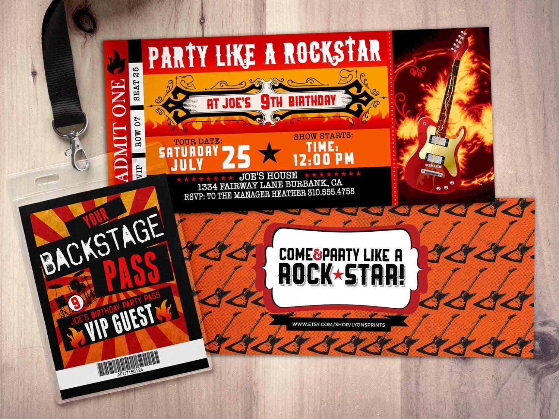 Rockstar Party Flames Guitar Rocker Gallery Photo