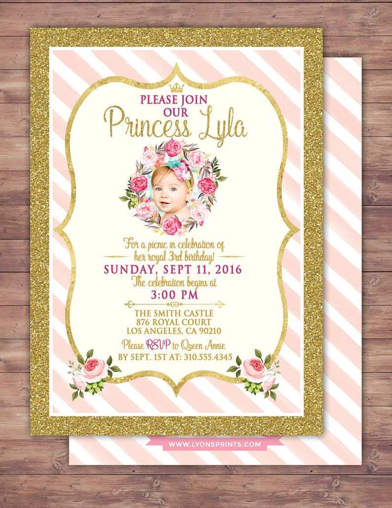 ANY AGE Princess Invitations  Princess Birthday Party image 0