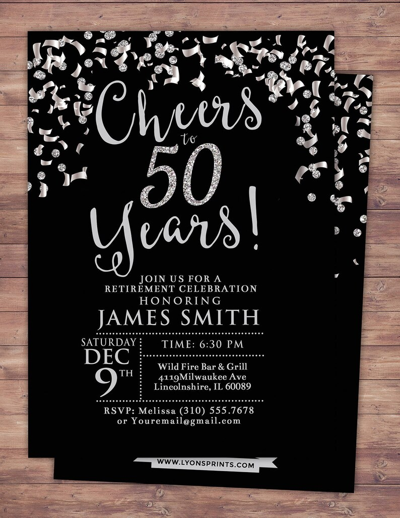 Retirement party Cheers invitation 21st 30th 40th 50th image 0