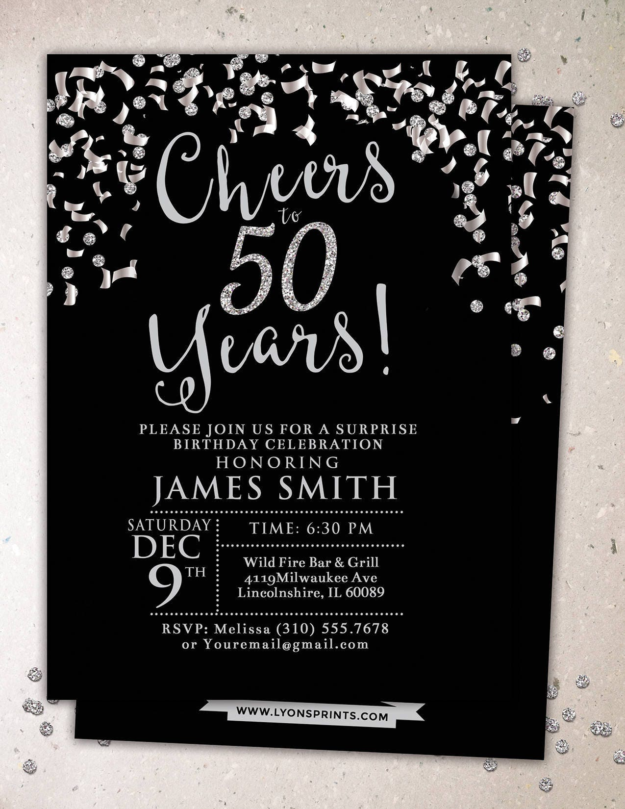 Any age cheers invitation 21st 30th 40th 50th 60th 70th any age cheers invitation 21st 30th 40th 50th 60th 70th surprise birthday party invitation adult birthday confetti and glitter filmwisefo