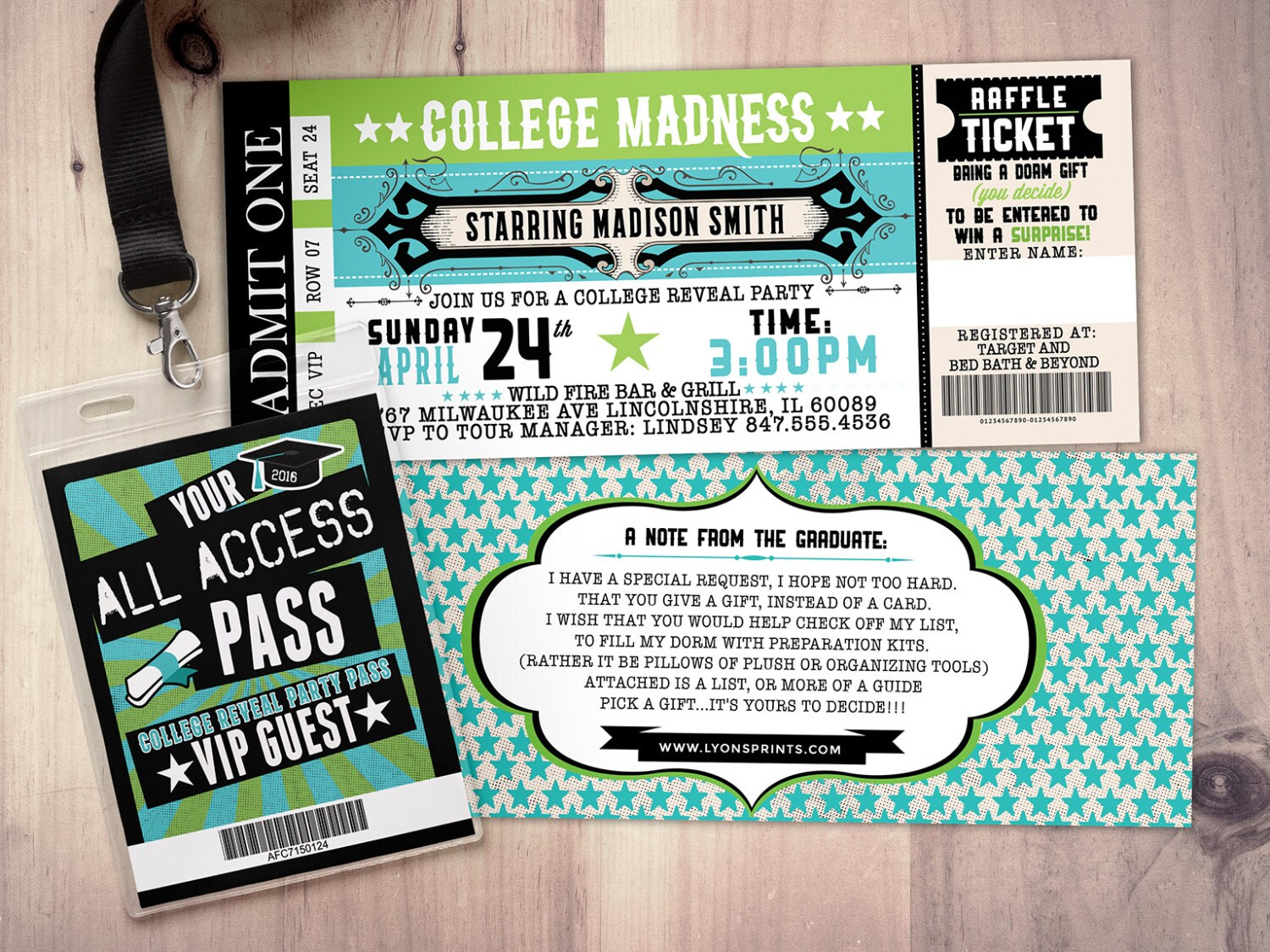 college reveal party concert ticket graduation party invitation