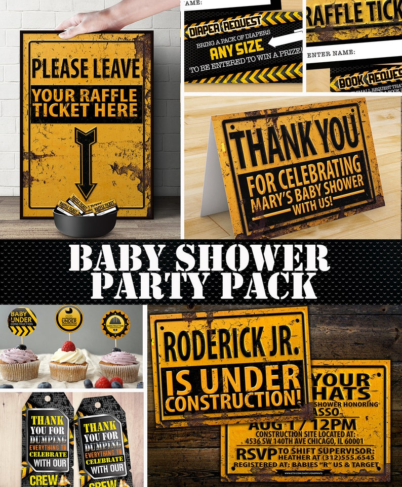 Construction Printable Baby Shower Package  Under image 0
