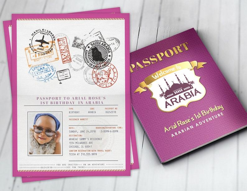 Arabia Arabian Passport and ticket birthday invitation image 0