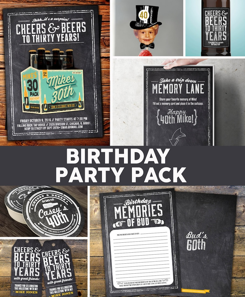 ANY AGE Cheers and Beers invitation party pack beer 21st image 0