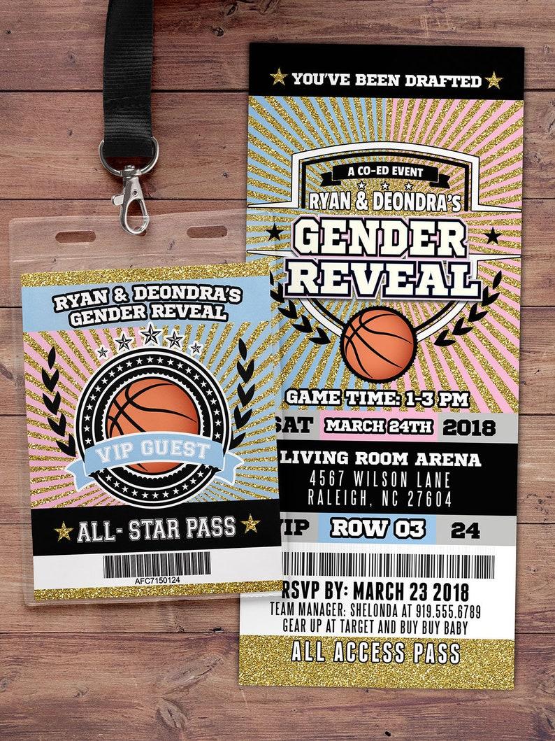 Basketball  ticket Invitation Baby Shower All Star Birthday GENDER REVEAL